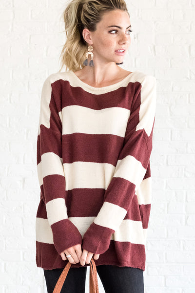 Red Striped Fuzzy Soft Knit Boyfriend Sweaters for Women