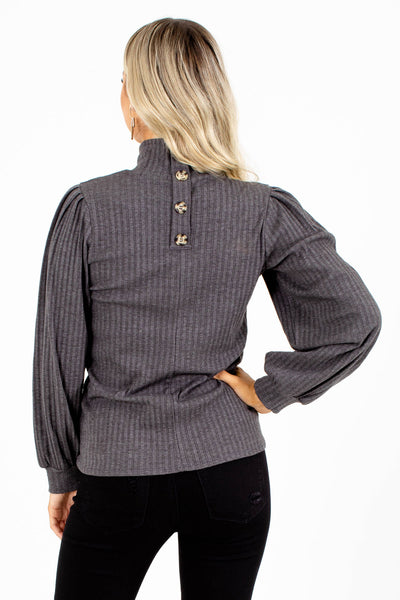 Ribbed Turtleneck with Buttons for Fall