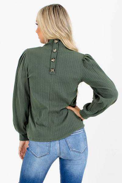 Women's Green Decorative Button Boutique Top