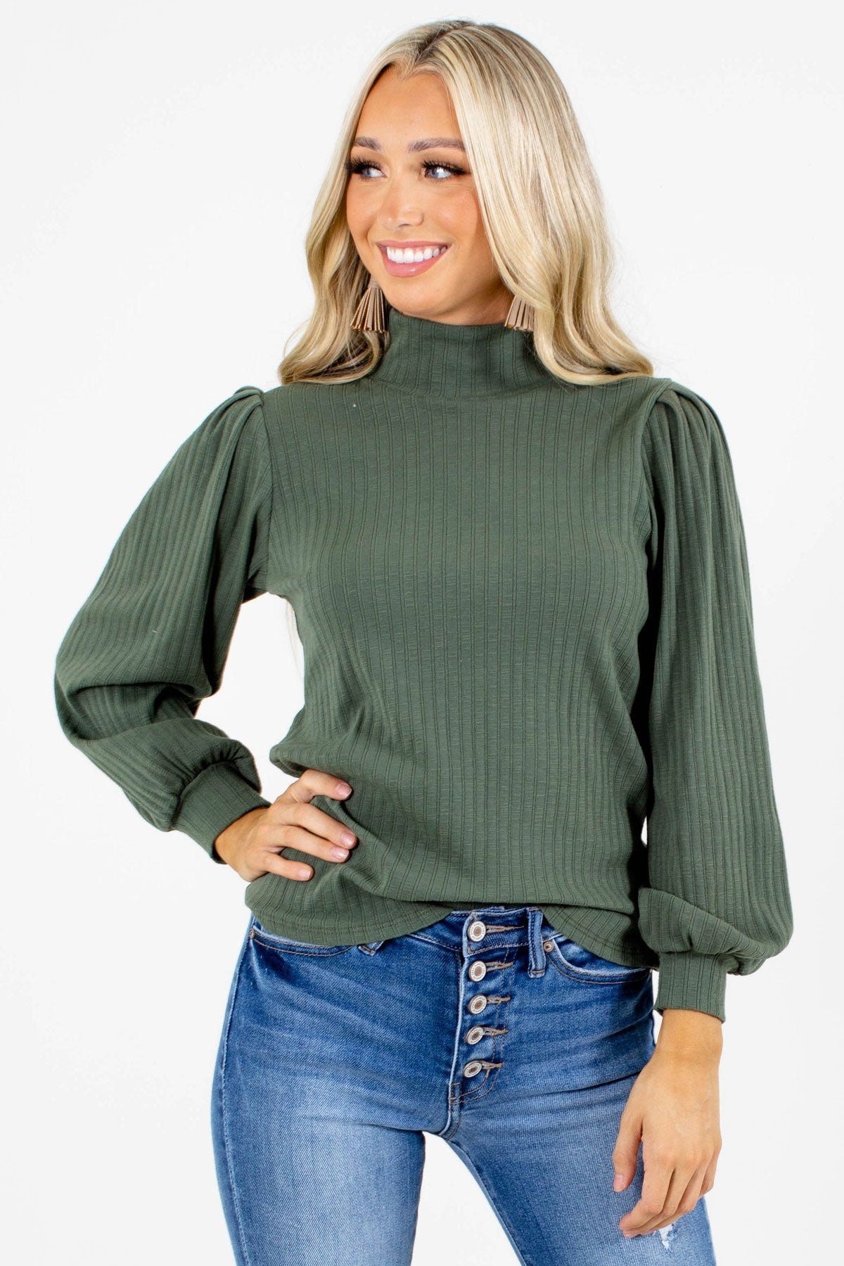 Green Bishop Style Sleeve Boutique Tops for Women
