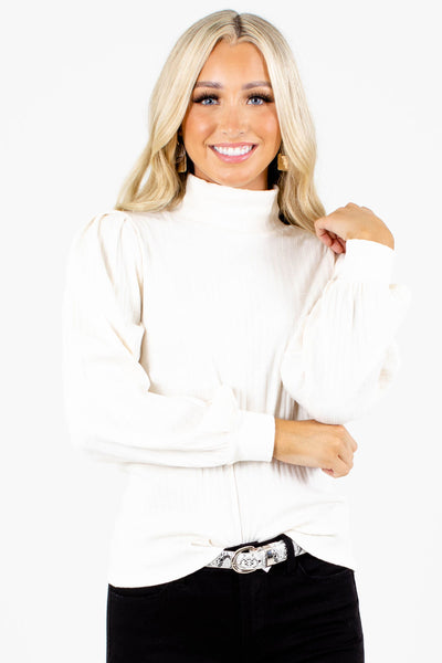 White Mock Neckline Boutique Tops for Women