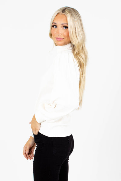 Women's White Ribbed Boutique Top