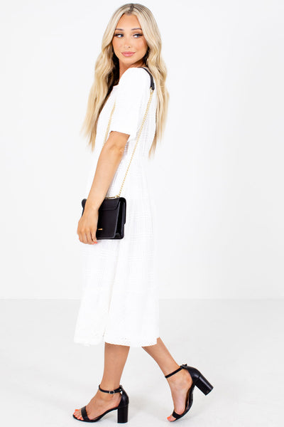 White Fully Lined Boutique Midi Dresses for Women