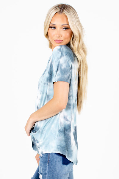 Blue Short Sleeve Boutique Tops for Women