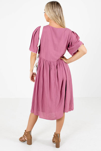 Women's Pink Round Neckline Boutique Midi Dress