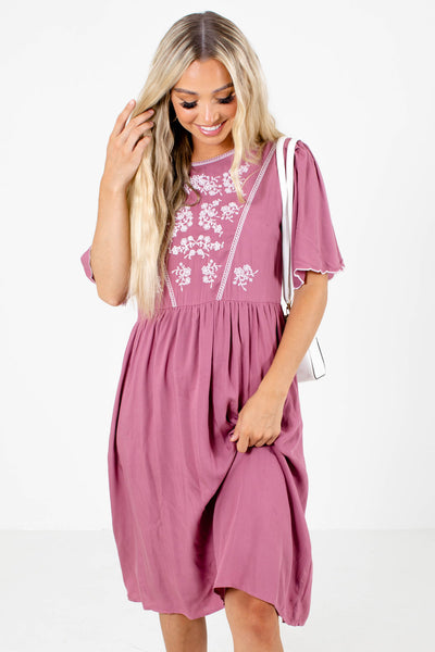 Pink and White Embroidered Boutique Midi Dresses for Women