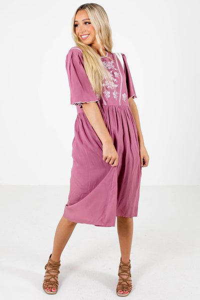 Women's Pink Pleated Detailed Boutique Midi Dress