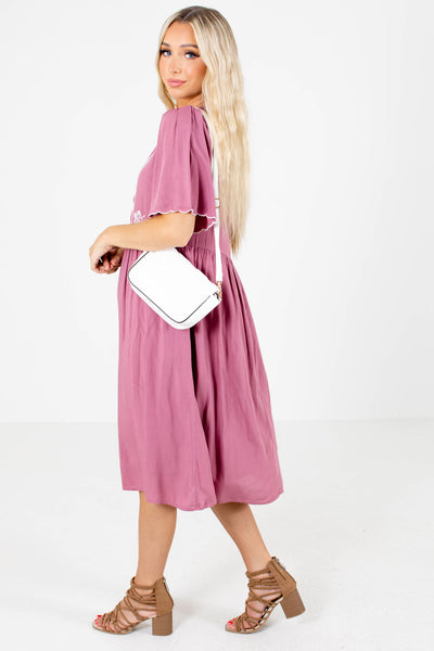 Pink Interior Lining Boutique Midi Dresses for Women