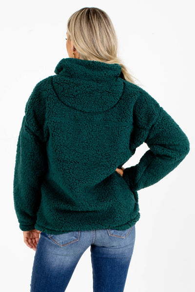 Women's Green Faux Sherpa Material Boutique Pullover