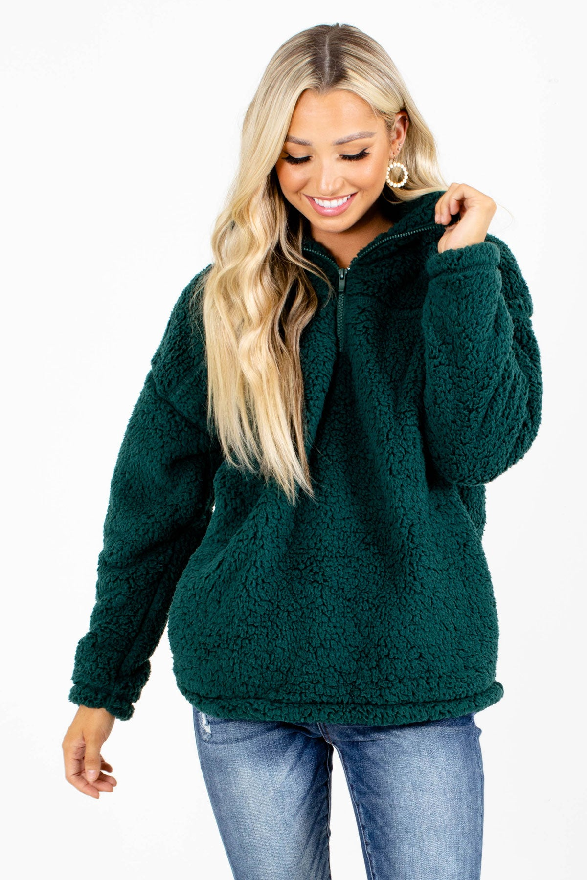Dark Green Zip-Up Neckline Boutique Pullovers for Women