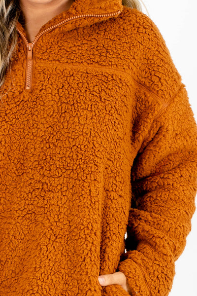 Women's Orange Cozy and Warm Boutique Pullover