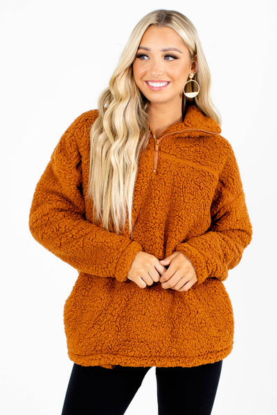 Orange Boutique Sherpa Pullover with Pockets for Women
