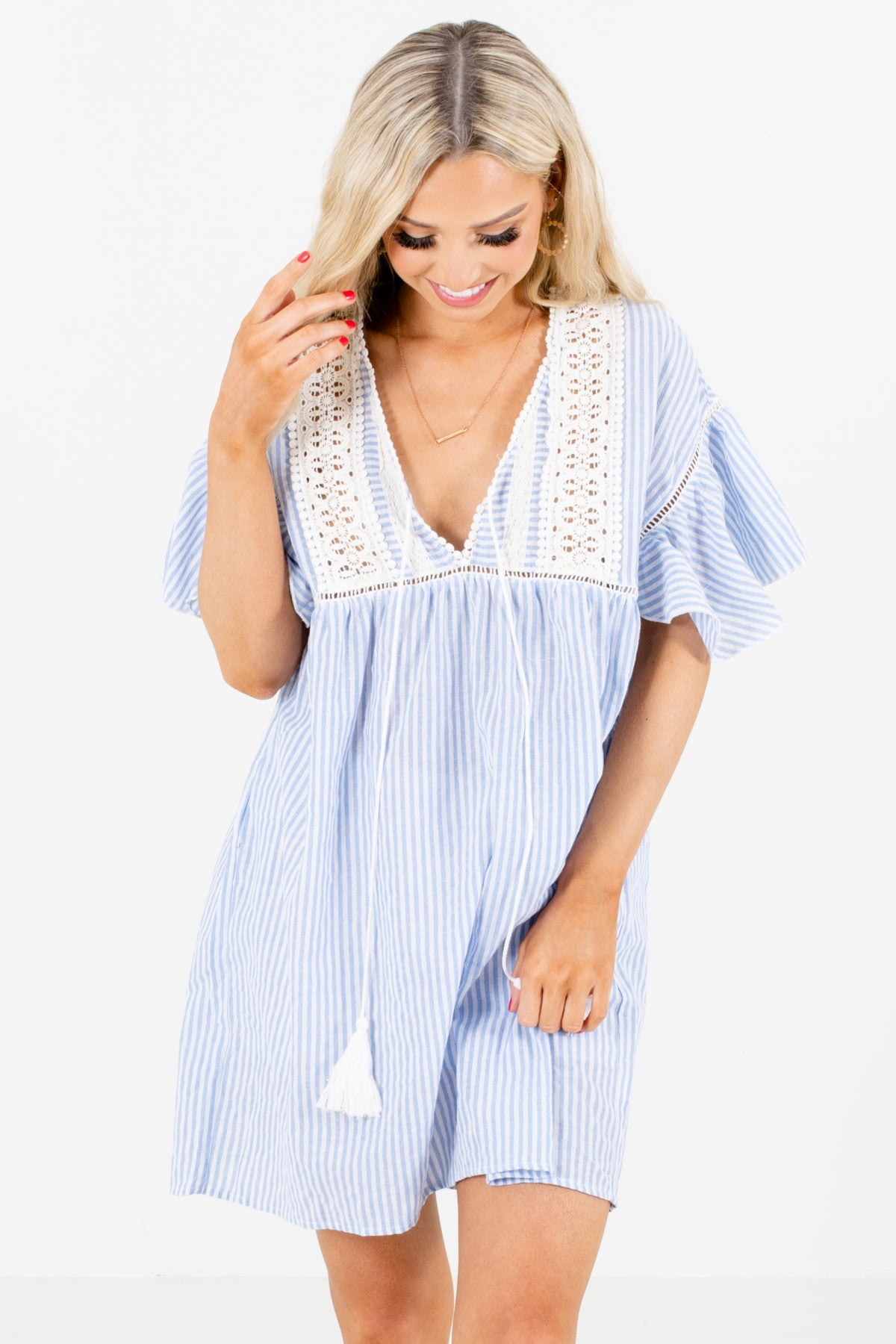 Blue and White Striped Boutique Mini Dresses for Women