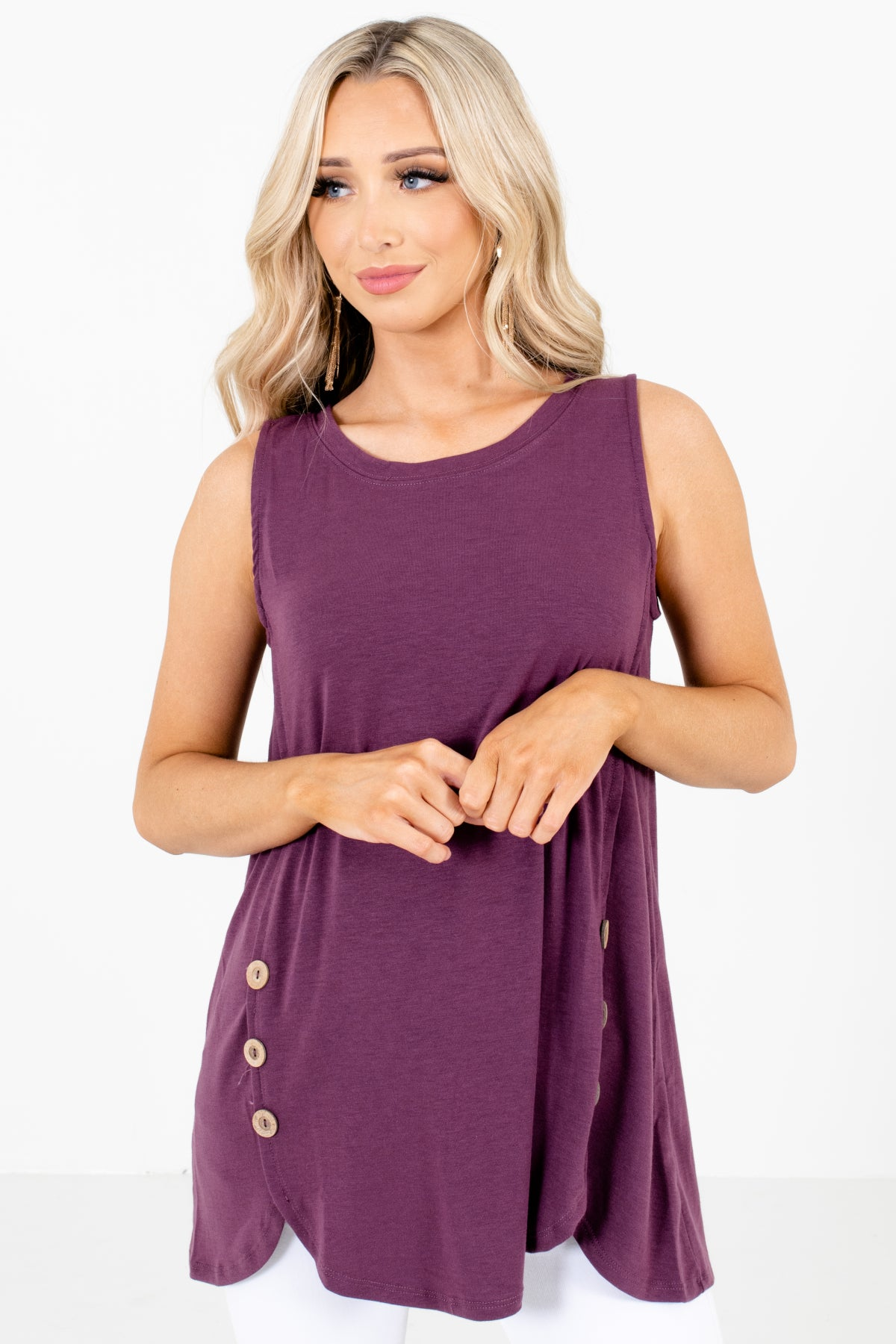 Purple Round Neckline Boutique Tank Tops for Women