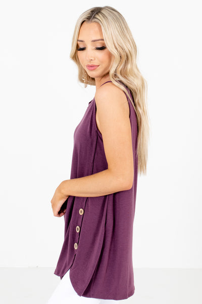 Women's Purple Decorative Button Boutique Tank Top