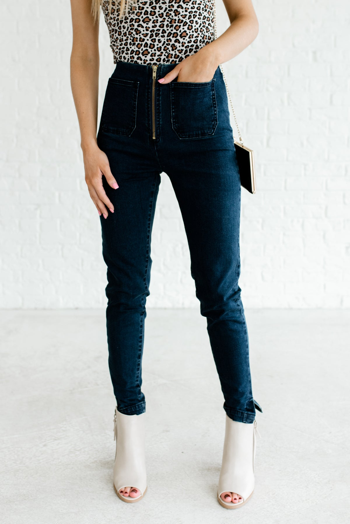 Dark Wash Denim Blue Skinny Style Boutique Jeans for Women