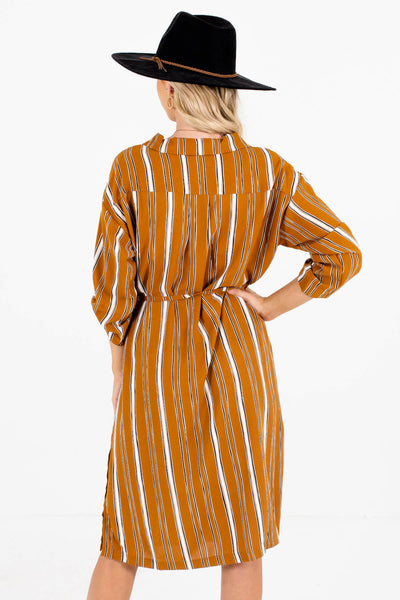 Women's Tawny Orange Button-Up Front Boutique Dress