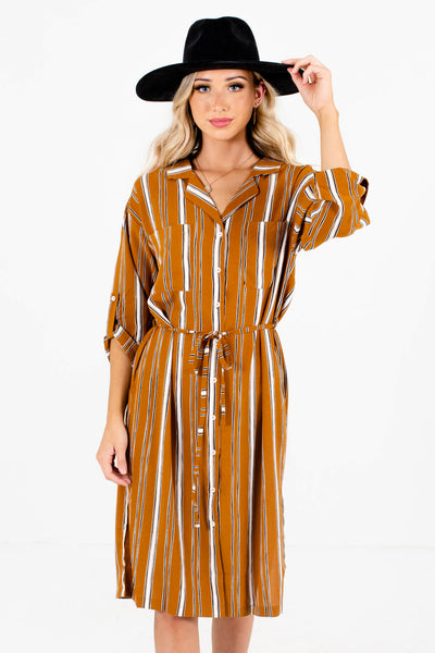 Tawny Orange White and Black Striped Boutique Dresses for Women