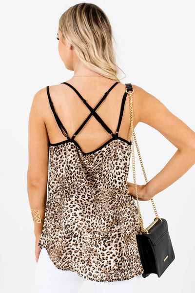 Women's Beige Brown Adjustable Strap Boutique Cami