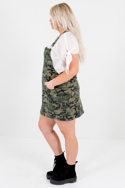 Green Camo Print High-Quality Semi-Stretchy Boutique Mini Dresses for Women