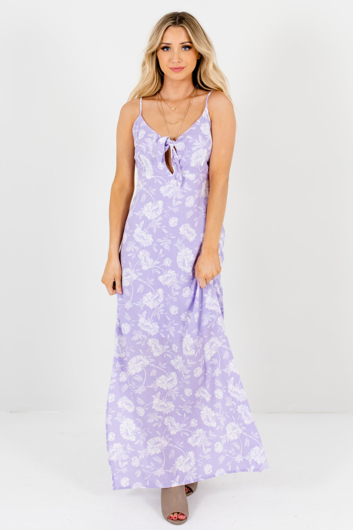 Lilac Purple White Floral Print Tie-Front Sundresses and Maxi Dresses