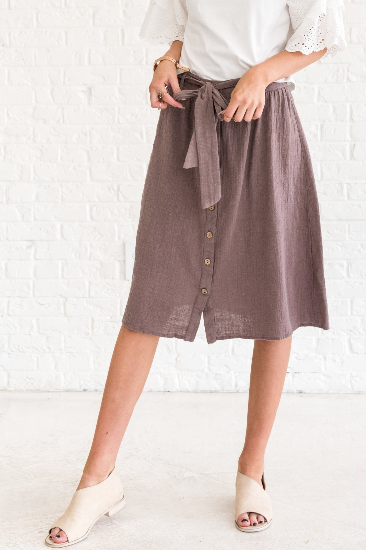 Brown Button-Up Knee-Length Skirts for Women