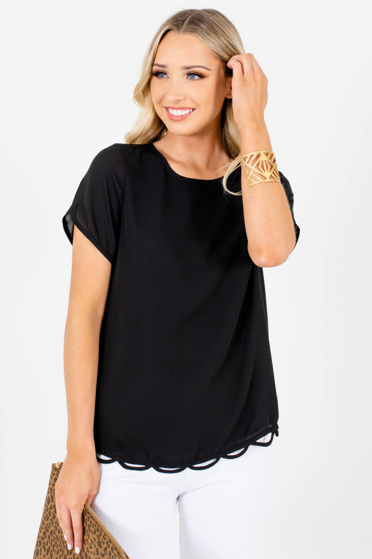 Black Scalloped Hem Boutique Blouses for Women