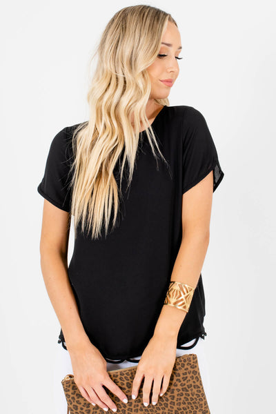Black Fully Lined Boutique Blouses for Women