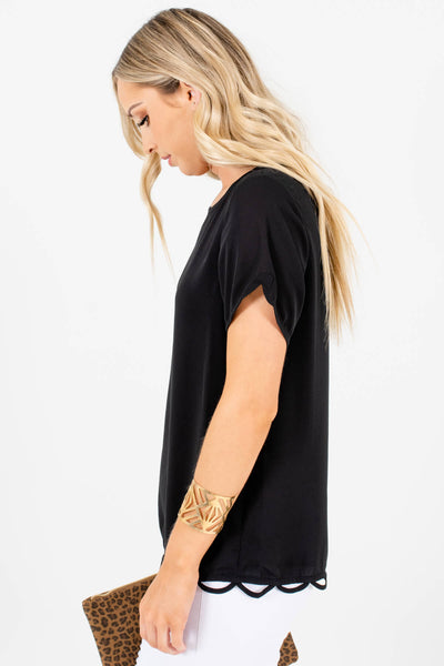 Women's Black Lightweight High-Quality Boutique Blouse