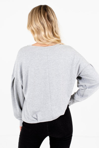Women's Heather Gray Pleated Accented Boutique Pullover
