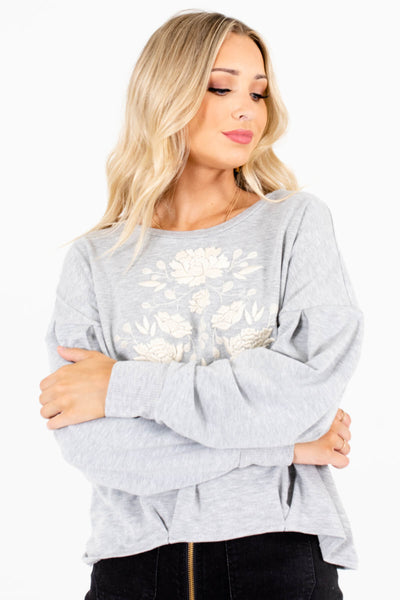 Women's Heather Gray Cozy Outerwear Boutique Pullover