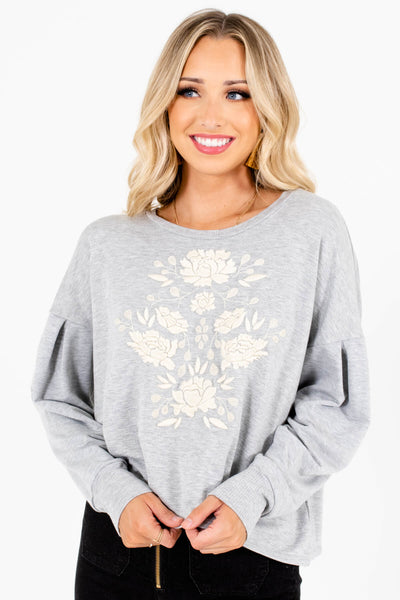 Heather Gray Floral Embroidered Boutique Pullovers for Women