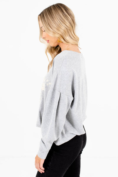 Women's Heather Gray Round Neckline Boutique Pullover
