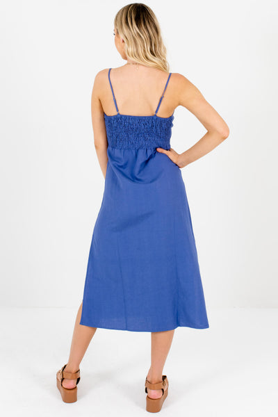Women's Indigo Blue Side Hem Slit Boutique Midi Dress