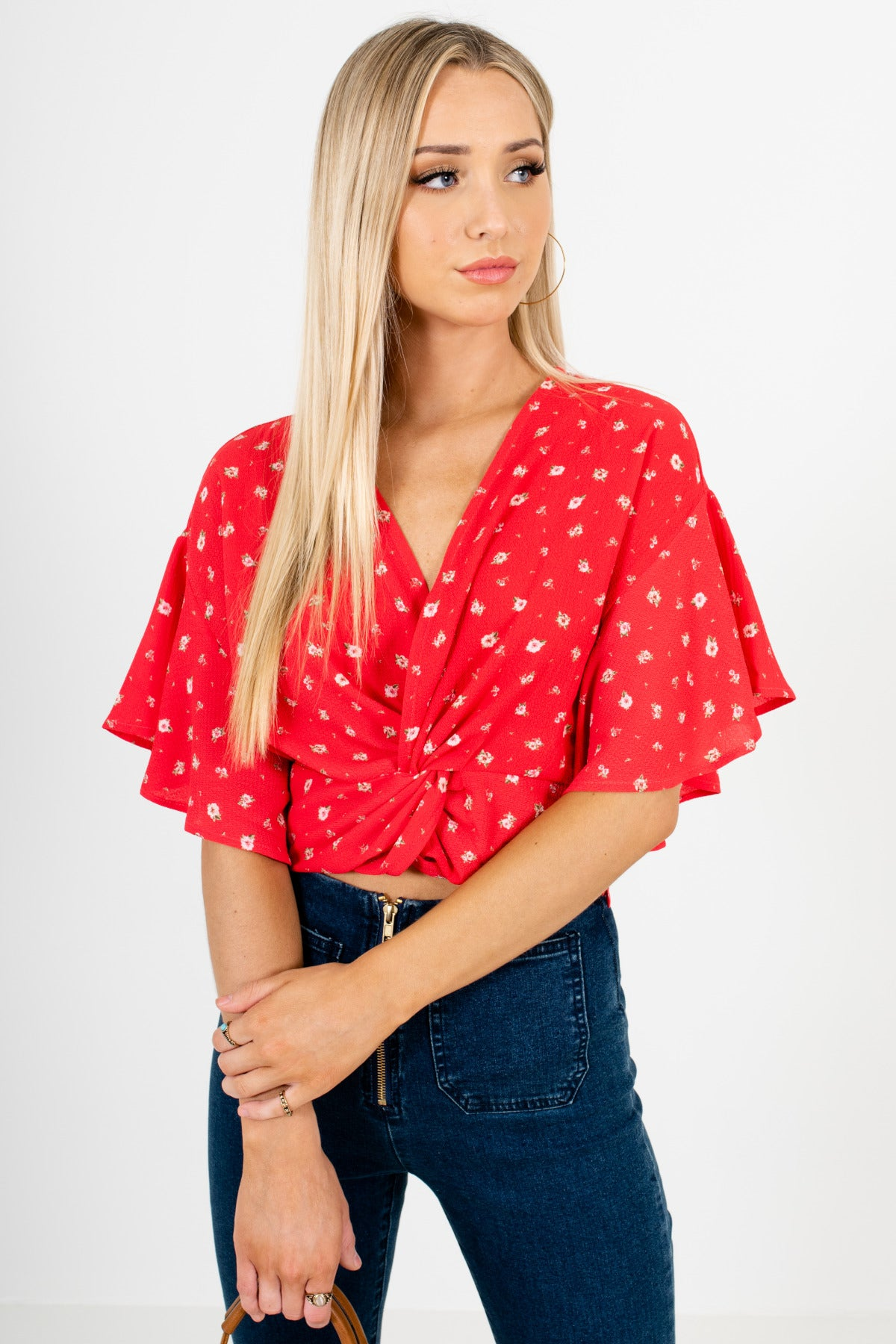 Red Floral Infinity Knot Crop Tops Affordable Online Boutique
