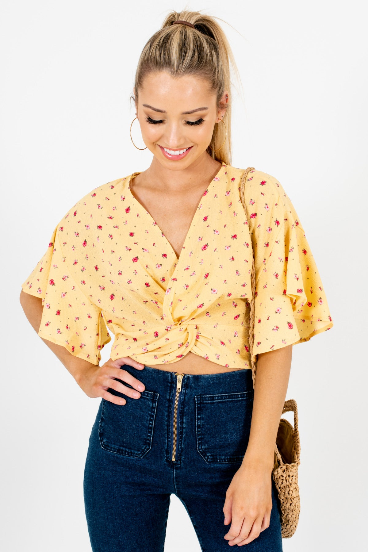 Yellow Floral Infinity Knot Crop Tops Affordable Online Boutique