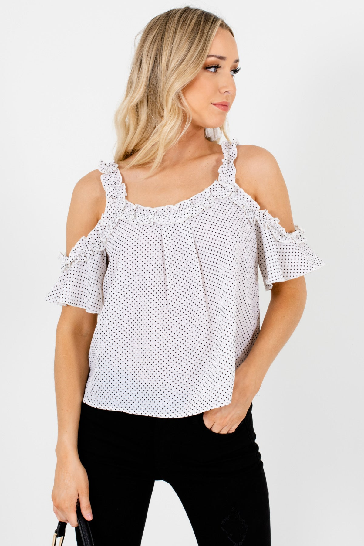 Women's White and Black Ruffle Accents Boutique Cold Shoulder Tops