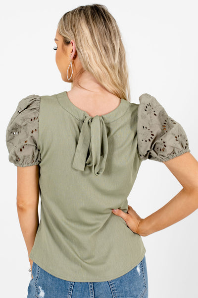 Women's Green Keyhole Back Boutique Tops