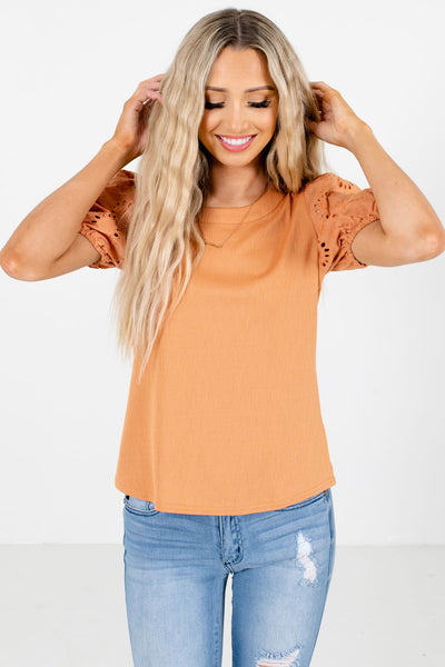 Orange Self-Tie Back Accented Boutique Blouses for women