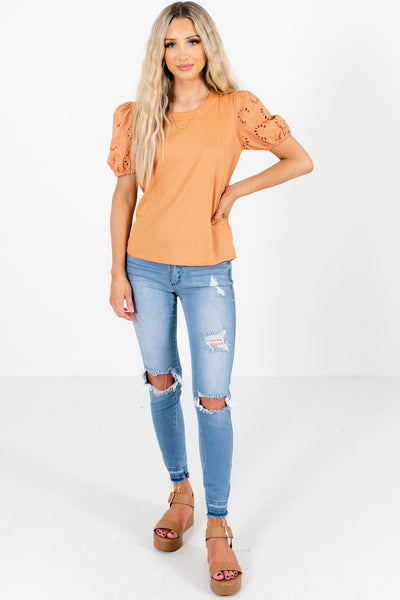 Orange Business Casual Boutique Tops for Women