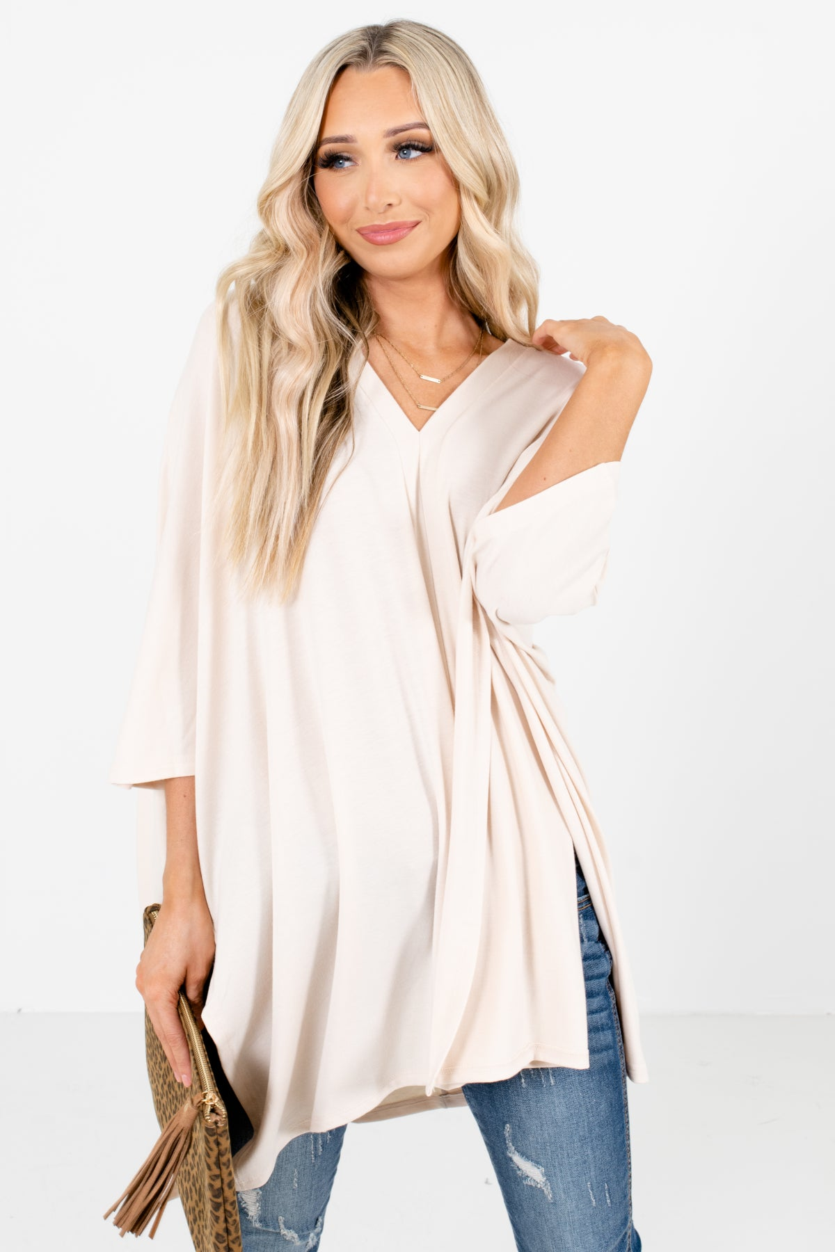 Cream Poncho Style Boutique Tops for Women