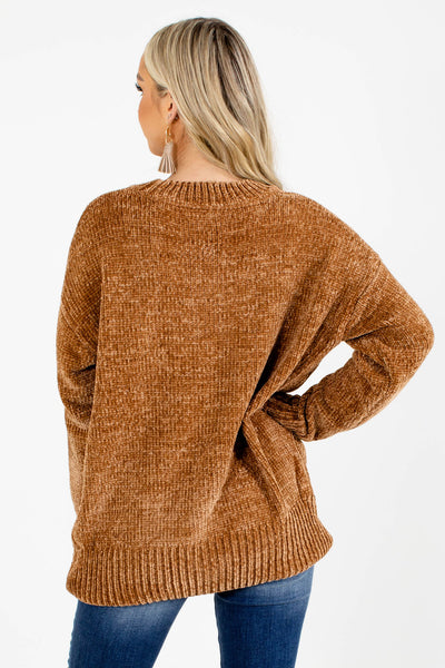 Women's Camel Brown Long Sleeve Boutique Sweater