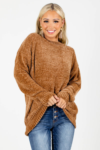 Brown Chenille Knit Boutique Sweaters for Women