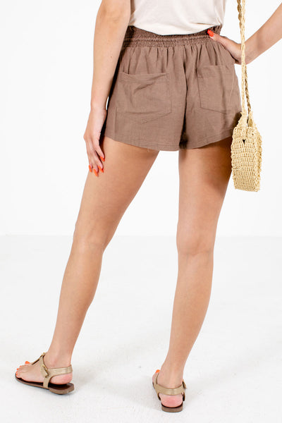 Women's Brown Boutique Shorts with Pockets