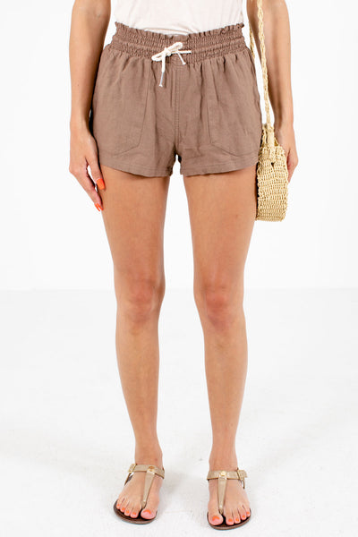 Brown Drawstring Waistband Boutique Shorts for Women