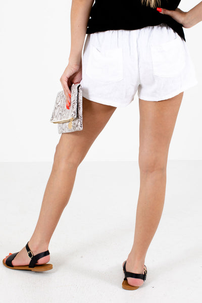 Women's White Casual Everyday Boutique Shorts