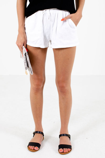 White Elastic Waistband Boutqiue Shorts for Women