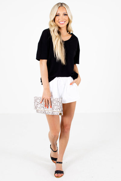 Women's White Summertime Boutique Shorts