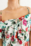 White Multicolored Tropical Print Tie Front Neckline Boutique Tops for Women
