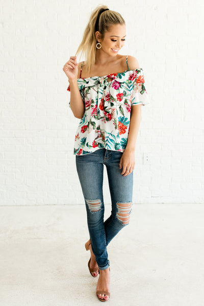 Women's White High Quality Flowy Boutique Tops